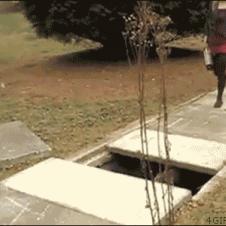 Blonde-trips-sidewalk-hole