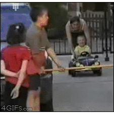 Kid-car-pushed-into-table